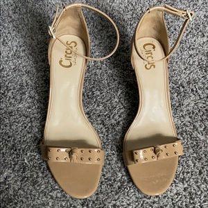 Sam Edalman circular nude sandals with gold studs